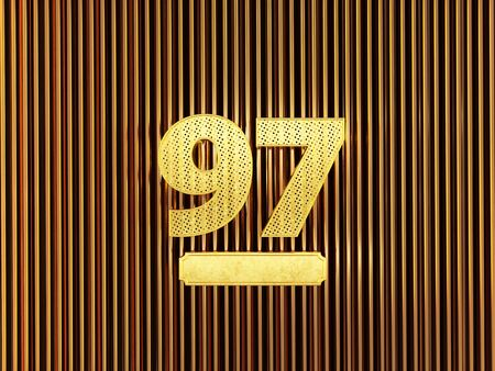 number 97 (number ninety-seven) perforated with small holes on the metal background. 3D illustration