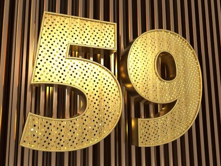number 59 (number fifty-nine) perforated with small holes on the metal background. 3D illustration