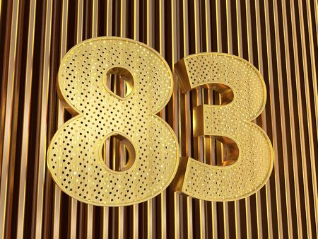 number 83 (number eighty-three) perforated with small holes on the metal background. 3D illustration