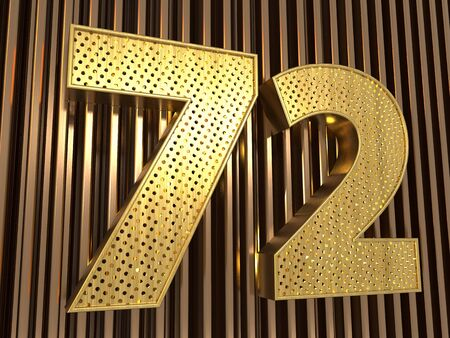 number 72 (number seventy-two) perforated with small holes on the metal background. 3D illustration