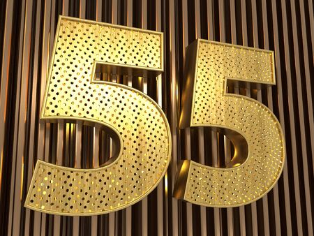 number 55 (number fifty-five) perforated with small holes on the metal background. 3D illustration