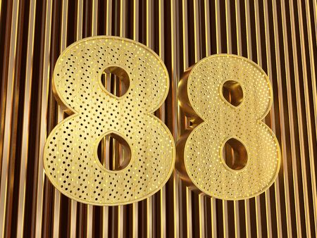 number 88 (number eighty-eight) perforated with small holes on the metal background. 3D illustration