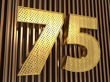 number 75 (number seventy-five) perforated with small holes on the metal background. 3D illustration Фото со стока