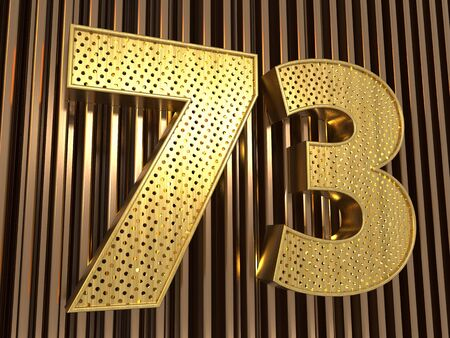 number 73 (number seventy-three) perforated with small holes on the metal background. 3D illustration