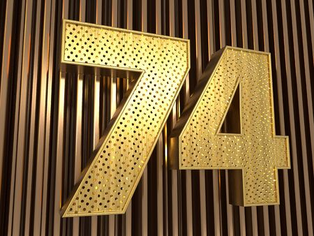 number 74 (number seventy-four) perforated with small holes on the metal background. 3D illustration