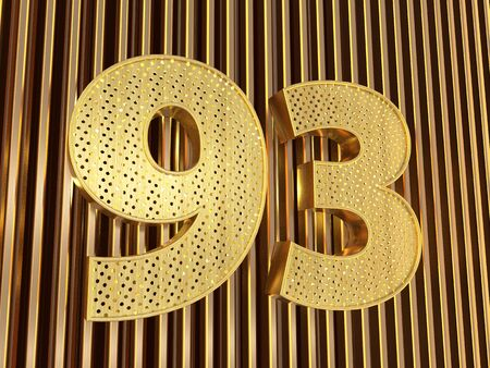 number 93 (number ninety-three) perforated with small holes on the metal background. 3D illustration