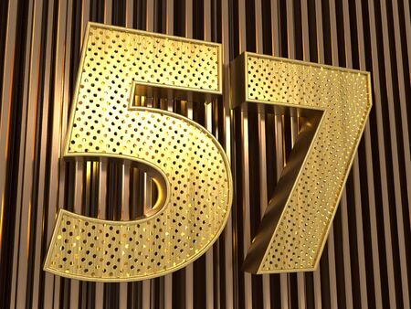 number 57 (number fifty-seven) perforated with small holes on the metal background. 3D illustration Фото со стока