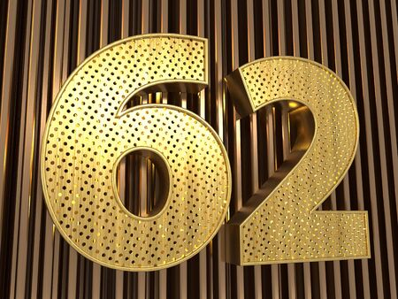 number 62 (number sixty-two) perforated with small holes on the metal background. 3D illustration Фото со стока