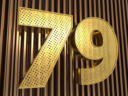 number 79 (number seventy-nine) perforated with small holes on the metal background. 3D illustration Фото со стока