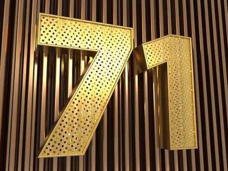 number 71 (number seventy-one) perforated with small holes on the metal background. 3D illustration Фото со стока