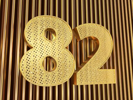 number 82 (number eighty-two) perforated with small holes on the metal background. 3D illustration Фото со стока