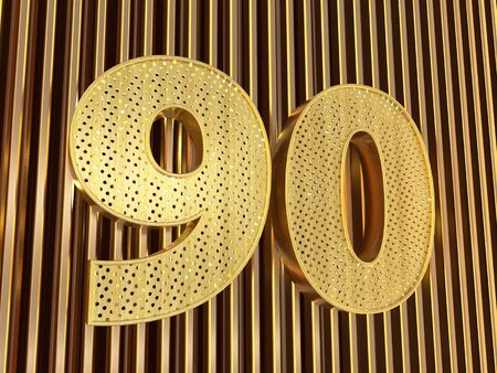 number 90 (number ninety) perforated with small holes on the metal background. 3D illustration