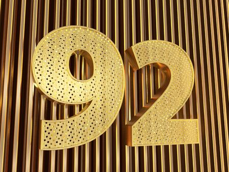 number 92 (number ninety-two) perforated with small holes on the metal background. 3D illustration