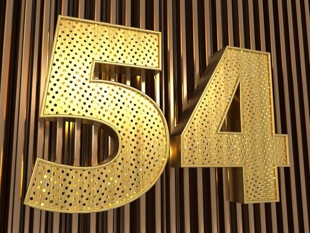number 54 (number fifty-four) perforated with small holes on the metal background. 3D illustration