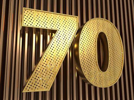 number 70 (number seventy) perforated with small holes on the metal background. 3D illustration Фото со стока