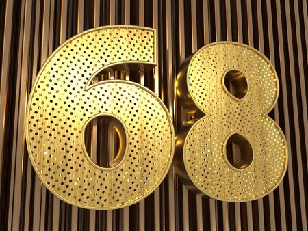 number 68 (number sixty-eight) perforated with small holes on the metal background. 3D illustration