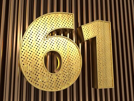 number 61 (number sixty-one) perforated with small holes on the metal background. 3D illustration