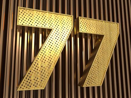 number 77 (number seventy-seven) perforated with small holes on the metal background. 3D illustration Фото со стока