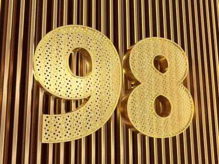 number 98 (number ninety-eight) perforated with small holes on the metal background. 3D illustration