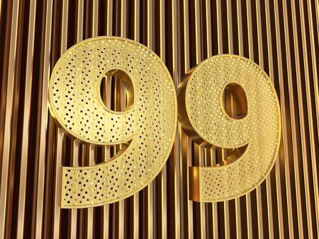 number 99 (number ninety-nine) perforated with small holes on the metal background. 3D illustration