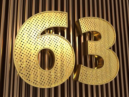 number 63 (number sixty-three) perforated with small holes on the metal background. 3D illustration Фото со стока