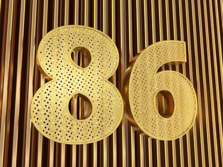 number 86 (number eighty-six) perforated with small holes on the metal background. 3D illustration