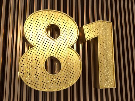 number 81 (number eighty-one) perforated with small holes on the metal background. 3D illustration