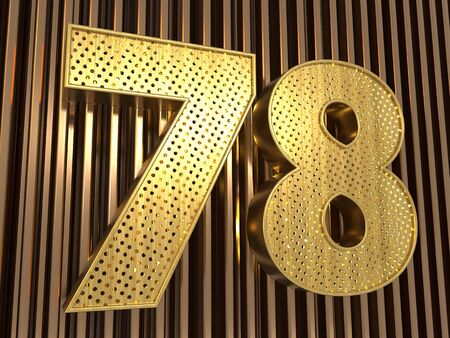 number 78 (number seventy-eight) perforated with small holes on the metal background. 3D illustration Фото со стока