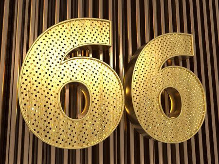 number 66 (number sixty-six) perforated with small holes on the metal background. 3D illustration