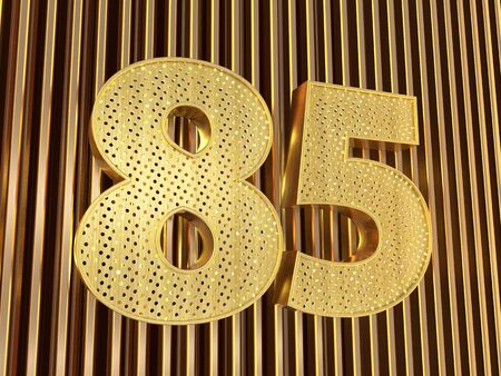 number 85 (number eighty-five) perforated with small holes on the metal background. 3D illustration