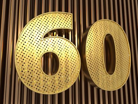 number 60 (number sixty) perforated with small holes on the metal background. 3D illustration
