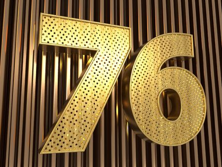 number 76 (number seventy-six) perforated with small holes on the metal background. 3D illustration