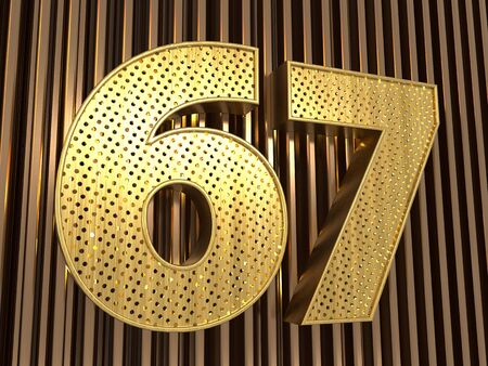 number 67 (number sixty-seven) perforated with small holes on the metal background. 3D illustration