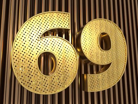 number 69 (number sixty-nine) perforated with small holes on the metal background. 3D illustration