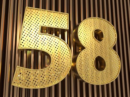 number 58 (number fifty-eight) perforated with small holes on the metal background. 3D illustration Фото со стока