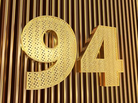 number 94 (number ninety-four) perforated with small holes on the metal background. 3D illustration