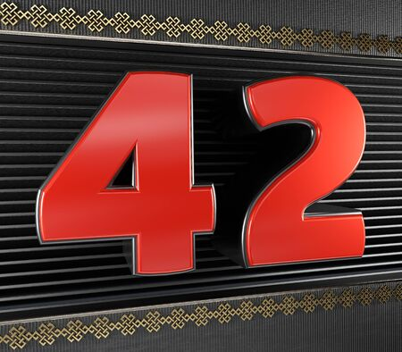 Red number 42 (number forty-two) with golden symbols endless knot. 3D illustration