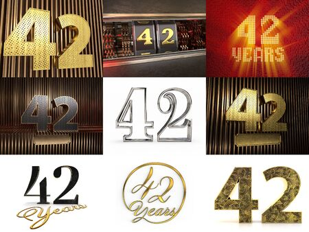 Set of number 42 (number forty-two) celebration design. Anniversary number template elements for your birthday party. 3D illustration