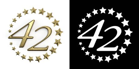 Number 42 (number forty-two) Anniversary celebration design with a circle of Golden stars on a white background with shadow and alpha channel. 3D illustration