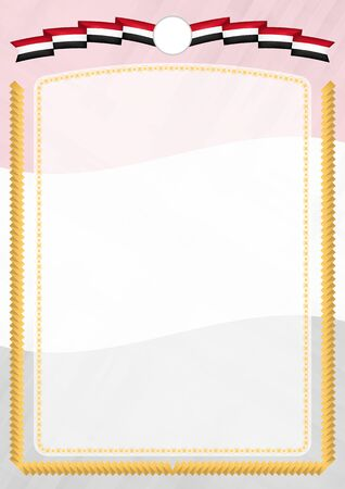 Border made with Iraq national flag. Brush stroke frame. Template elements for your certificate and diploma. Vertical orientation.