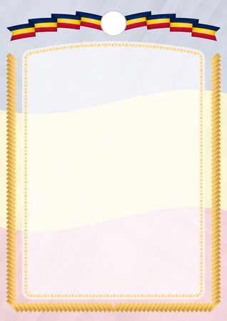 Border made with Chad national flag. Brush stroke frame. Template elements for your certificate and diploma. Vertical orientation. Vettoriali