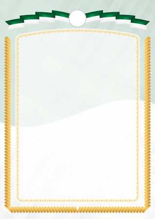 Border made with Algeria national flag. Brush stroke frame. Template elements for your certificate and diploma. Vertical orientation. Vectores