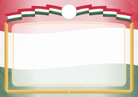 Border made with Hungary national flag. Brush stroke frame. Template elements for your certificate and diploma. Horizontal orientation. Illusztráció