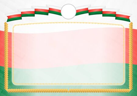 Border made with Madagascar national flag. Brush stroke frame. Template elements for your certificate and diploma. Horizontal orientation.