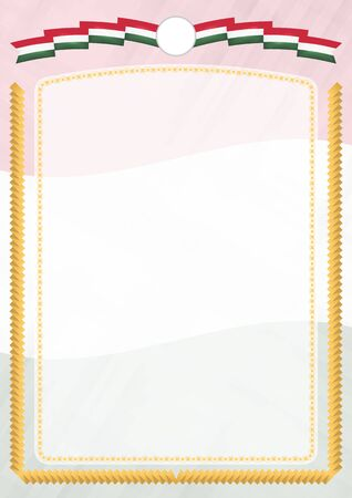 Border made with Hungary national flag. Brush stroke frame. Template elements for your certificate and diploma. Vertical orientation. Illusztráció