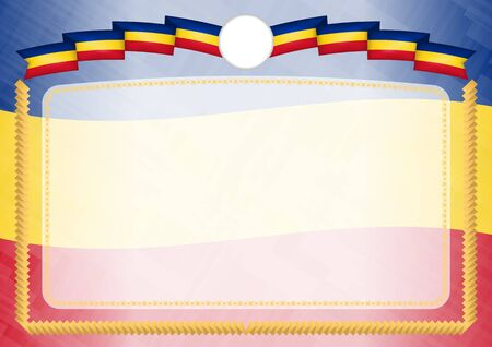 Border made with Romania national flag. Brush stroke frame. Template elements for your certificate and diploma. Horizontal orientation.