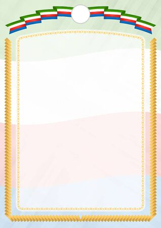 Border made with Equatorial Guinea national flag. Brush stroke frame. Template elements for your certificate and diploma. Vertical orientation.