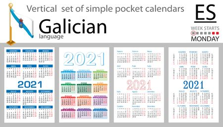 Galician vertical set of pocket calendars for 2021 (two thousand twenty one). Week starts Monday. New year. Color simple design. Vector Illustration