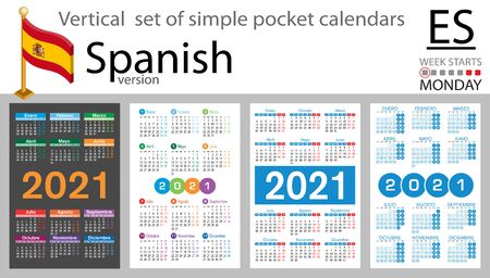 SpaIn vertical set of pocket calendars for 2021 (two thousand twenty one). Week starts Monday. New year. Color simple design. Vector Иллюстрация