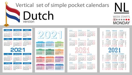 Dutch vertical set of pocket calendars for 2021 (two thousand twenty one). Week starts Monday. New year. Color simple design. Vector